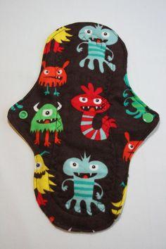 Kiki Mama Cloth Menstrual Pad Monsters Print Regular Size. $6.98, via Etsy.