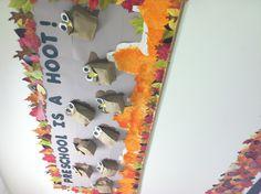 Preschool is a hoot! Owl Theme Classroom, Classroom Setting, Classroom Displays, School Classroom, Classroom Ideas, Owl Bulletin Boards, Interactive Bulletin Boards, Kindergarten Fun, Preschool