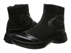 Naot Footwear - Oyster (Black Suede/Black Madras) Women's Zip Boots