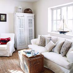 Weiß Küsten-Stil Wohnzimmer