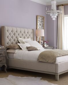 Upholstered bed!  Love this room - soothing colors.