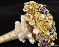 Custom Button Bouquet in Gold:) #wedding #bouquet #gold