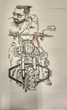 A rider with a different personalities  @winter_wanderer  #riderstrong #offroading #bikelovers_ig #supebike #bikoholic #art #artistsoninstagram #artiestudio #sketches #lovebikes #riders #delhigram #beard #royal #royalenfieldbullet #artist #artwork🎨 #art
