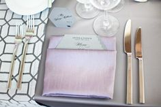 Purple and white table setting, segerstrom center for the arts wedding, photo by Jules Bianchi  | junebugweddings.com