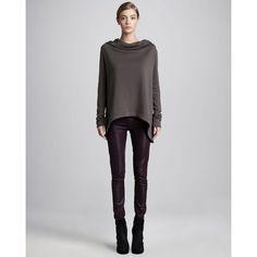HELMUT Hooded Sweatshirt & Glossy Skinny Jeans ($230) ❤ liked on Polyvore