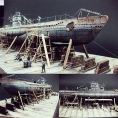 German U-Boat Type VII-B 1/350 AFV Club. Modeler Nikos Kosmadakis ... #Diorama #Miniature #Model #ScaleModel #Vignettes