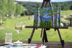 Guests sample wine and show off their brushwork during Painting and Pinot at The Ritz-Carlton, Bachelor Gulch. Hotel Guest, Hotel Spa, Beaver Creek Mountain, Avon, Colorado, Wine, Outdoor Decor, Painting, Aspen Colorado