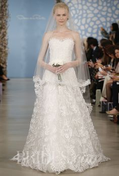 """Avery"" white silk taffeta floral filigree embroidered tulle sweetheart a-line gown, Oscar de la Renta"