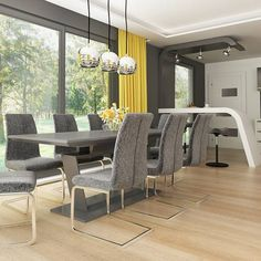 gotowy projekt domu Z378 – aranżacja wnętrz, Parterowy dom z garażem dwustanowiskowym. House Plans Mansion, Concept Home, Modern House Design, Bungalow, New Homes, How To Plan, Mansions, Table, Furniture