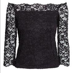 Black lace off the shoulder top NWT black lace off the shoulder top. X-small 95% nylon 5% spandex H&M Tops Blouses