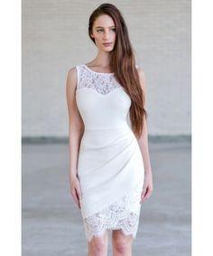 Cute Off White Lace Bodycon Dress