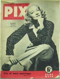 Marlene Dietrich - Pix Magazine Cover [Australia] (11 December 1948)