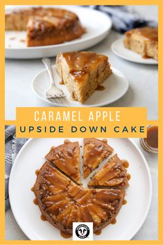 This caramel apple upside-down cake is the ultimate dessert for fall with caramelized apples baked under a lightly spiced cake and extra caramel sauce for drizzling. Just Desserts, Delicious Desserts, Dessert Recipes, Yummy Food, Baking Desserts, Cupcake Recipes, Apple Recipes, Fall Recipes, Holiday Recipes