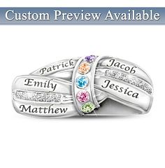 A Mothers Embrace Personalized Birthstone Ring - add up to 5 names and birthstones