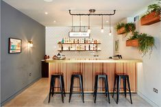 Get their look: Vintage industrial home bar - H is for Home Harbinger Industrial Design Furniture, Industrial House, Vintage Industrial, Industrial Basement, Open Kitchen And Living Room, London House, Thrifty Decor, Look Vintage, House Front
