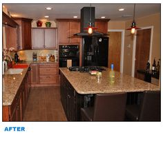 Venetian Gold Original Granite Counters, Cherry Cabinets On The Perimeter  And An Espresso Brown For