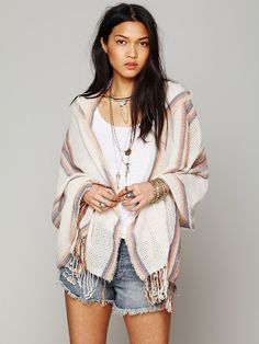 "DIY - Figure out Pattern - Free People Hooded Poncho, 68.00  Hooded woven poncho with fringe trimming around bottom and patterned trimming. Drapes gracefully over your arms like a shawl. Lightweight.  *65% Acrylic, 35% Cotton  *Dry Clean Only  *Import  *Approx. 35"" length"