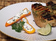 Jerk Chicken with Stuffed Mini Bell Peppers from Cooking Light via Taking On Magazines