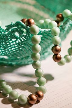 #Mint green necklace . 1960 . Vintage piece