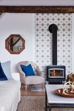 This wood-burning stove makes a major style statement