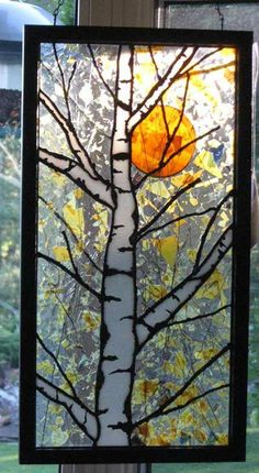 """""""Birch and Sun"""" by Stained Glass Artist - Yvonne DeViller More Faux Stained Glass, Stained Glass Lamps, Stained Glass Designs, Stained Glass Panels, Stained Glass Projects, Stained Glass Patterns, Fused Glass, Broken Glass Art, Sea Glass Art"""