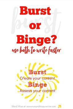 How to write faster: binge and burst with Word Wise at Nonprofit Copywriter #FreelanceWriting #WritingTips
