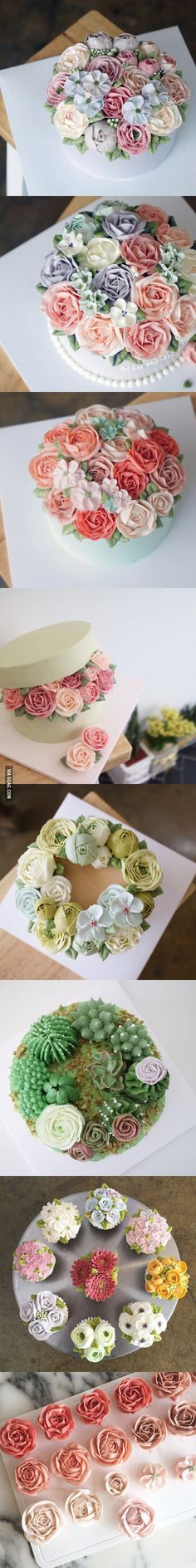 Beautiful, all-buttercream Flower Cakes