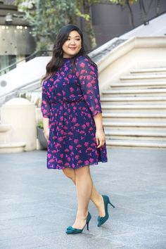 Being plus size doesn't mean you shouldn't wear bright colors and prints! I love this look's spring-y colors and sheer sleeves. - Allison