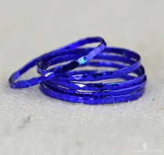 Set of 5 Super Thin Blue Silver Stackable Rings by Alaridesign Silver Stacking Rings, Stackable Rings, Silver Rings, Hammered Silver, Sterling Silver, Silver Necklaces, Gold Jewelry, Diamond Jewelry, Jewellery