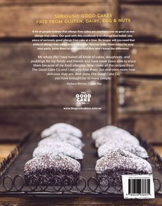 Back cover of our new cookbook. Allergy friendly recipes free from gluten, dairy, egg and nuts. Cake & Co, New Cookbooks, Allergy Free, Free Food, Allergies, Dairy, Gluten, Eggs, Good Things