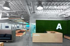 Woods and greens. love this space office interior мастерская M Office, Office Workspace, Office Entrance, Office Reception, Office Space Design, Workspace Design, Visual Merchandising, Office Graphics, Commercial Office Design