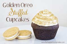 Golden Oreo Stuffed Cupcakes