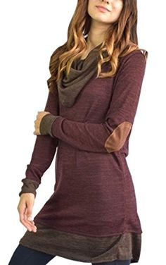 Angashion Womens Two Tone Cowl Neck Long Sleeve Elbow Patch TShirt Dress ** Find out more about the great product at the image link.Note:It is affiliate link to Amazon.
