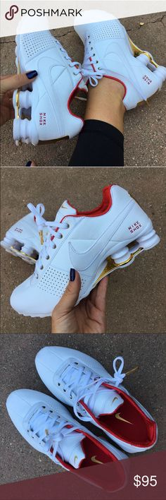 NWOB ❤️ NIKE SHOX CLASSICS! Size 7 women's It's beginning to look a lot like Christmas! ❤️ these shoes just scream holiday comfort! New never worn Nike SHOX DELIVER one size 7 women available. For the serious runner! Or just to look amazing Satin red accents with tons of gold details. No box ships in a new shipping box each shoe wrapped nicely in tissue. Bundle items to save. ❤️ 100% authentic Nike product purchased directly from NIKE Nike Shoes Athletic Shoes
