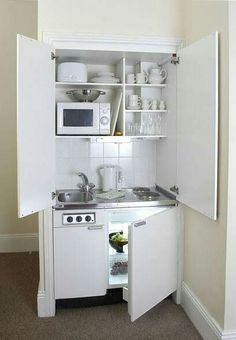 Chic Compact Kitchen For A Small Space A Great Idea For A Studio