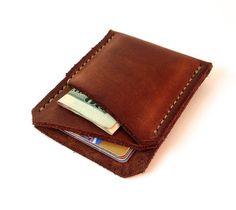 Minimalist wallet handmade from full grain oil tanned leather