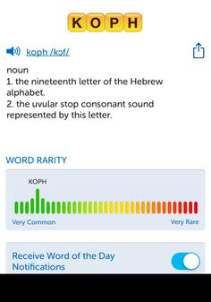 The best word I've seen today on Words with Friends is 'koph'. Can you come up with a better one?