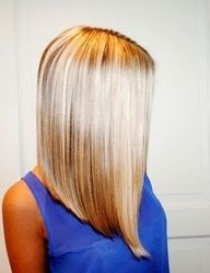 Inverted long blonde bob