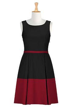 CL0026261 - Retro style colorblock dress