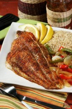 Oven Fried Catfish  Ingredients:  1 lb of catfish fillets  2 tablespoons of lemon juice  2 tablespoons of chicken broth  ½ cup of dry breadcrumbs  ¼ teaspoon of salt  Pinch of garlic powder  Pinch of pepper  2 teaspoons of vegetable oil