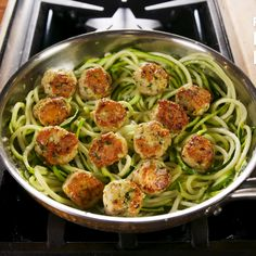 These Zoodle Recipes Make the Most Satisfying Low-Carb Meals Garlic Butter Meatballs with Zoodles Best Zoodle Recipe, Zoodle Recipes, Meat Recipes, Low Carb Recipes, Chicken Recipes, Cooking Recipes, Healthy Recipes, Dinner Recipes, Pasta Recipes