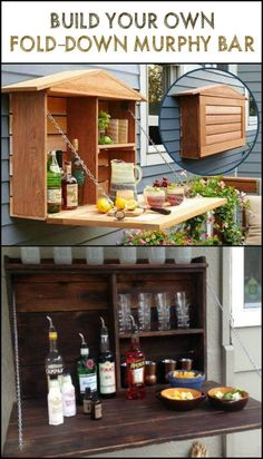 Can't Afford a Full Size Bar For Your Outdoor Area? Then Build One of These Fold-Down Murphy Bar!