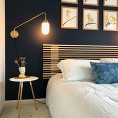 We build these solid wood slat headboards from scratch in our Raleigh workshop! You get to select . Bed Headboard Design, Modern Headboard, Wood Headboard, Headboards For Beds, Headboard Ideas, Home Bedroom, Bedroom Decor, Diy Bett, Solid Wood