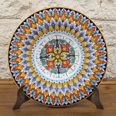 """GORGEOUS!! Hand-made, hand painted decorative plate, 17"""" Bright, vivid colors! FREE shipping! Direct from Vietri Italy to you ~ $359.00 (plate stand not included)"""