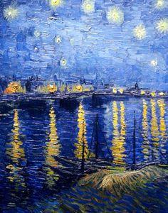 VINCENT van GOGH (Neerlandês: 1853-1890) foi um pintor pós-impressionista. Ele falhou em todos os aspectos importantes para o seu mundo, em sua época. É considerado um dos pioneiros na ligação das tendências impressionistas com as aspirações modernistas; sua influência é reconhecida em variadas frentes da arte do século XIX: no expressionismo, fauvismo, abstraccionismo / Starry Night Over the Rhone, 1888