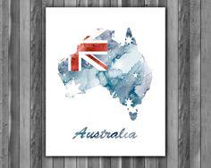Australia map Painting map Art Print by digitalaquamarine82