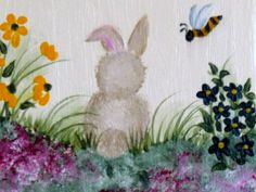Bunny among the flowers.  One Stroke Painting by Susan Earl.