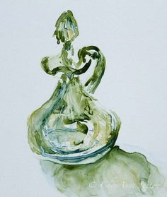 It's Back and for sale again.  More beautiful than ever  by CheyAnneSexton  $30. Kitchen Art - Green Depression Glass Vintage Decanter - French Country - Fine Art Home Decor - Watercolor Giclee Print