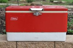 """Vintage c1970's Red Metal """"COLEMAN"""" Camping Cooler Ice Chest <a class=""""pintag searchlink"""" data-query=""""%23Coleman"""" data-type=""""hashtag"""" href=""""/search/?q=%23Coleman&rs=hashtag"""" rel=""""nofollow"""" title=""""#Coleman search Pinterest"""">#Coleman</a>"""
