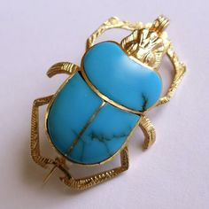 Vintage Egyptian Revival Solid 18K Gold Turquoise Scarab Pendant Brooch | eBay